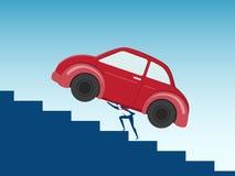 Businessman carrying huge car debt on his back. Debt concept. Cartoon Vector Illustration Stock Photo