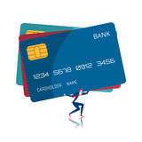 Businessman carrying huge credit card. Debt concept Stock Image