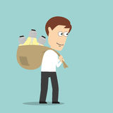 Businessman carrying idea light bulbs in bag Stock Photos