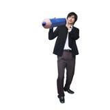 Businessman carrying pencil Stock Photo