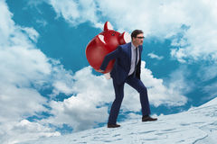 The businessman carrying the piggybank with savings Royalty Free Stock Photography