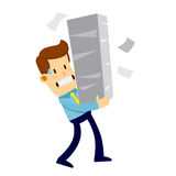 Businessman Carrying Pile of Paper Work Stock Image