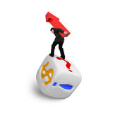 Businessman carrying red arrow up balancing on dice Stock Photography