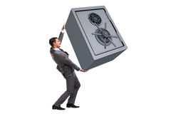 The businessman carrying safe isolated on white Stock Photography