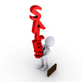 Businessman carrying sales. 3d businessman trying to balance red SALES letters Stock Photos