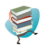 Businessman carrying a stack of books. Illustration of a businessman carrying a stack of books Royalty Free Stock Images