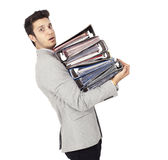 Businessman Carrying Stack of File Folders Royalty Free Stock Images