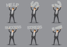 Businessman Carrying Text and Symbols Vector Character Set Royalty Free Stock Photo