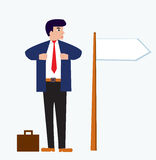 Businessman cartoon with banner Royalty Free Stock Image