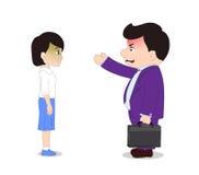 Businessman. Cartoon boss man firing an employee Royalty Free Stock Photography