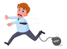 Businessman cartoon carry debt financial Stock Photo