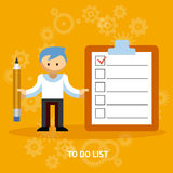 Businessman Cartoon Character with Checklist Stock Photography