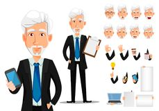 Businessman cartoon character creation set. Business man in office style clothes with gray hair. Businessman cartoon character creation set, pack of body parts royalty free illustration