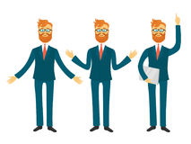 Businessman cartoon character in different poses for business presentation vector set. Successful man shows and tells Royalty Free Stock Image