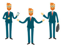 Businessman cartoon character in different poses for business presentation vector set. Successful man shows and tells Stock Image