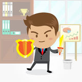 Businessman cartoon character with office background. Businessman cartoon character with office background Stock Image