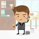 Businessman cartoon character with office background , vector. Businessman cartoon character with office background Stock Image