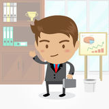 Businessman cartoon character with office background , vector. Businessman cartoon character with office background Royalty Free Stock Photography