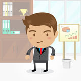 Businessman cartoon character with office background , vector. Businessman cartoon character with office background Stock Photo