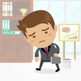 Businessman cartoon character with office background , vector. Businessman cartoon character with office background Royalty Free Stock Photos
