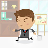 Businessman cartoon character with office background , vector. Businessman cartoon character with office background Stock Photos