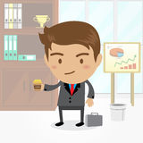 Businessman cartoon character with office background , vector. Businessman cartoon character with office background Royalty Free Stock Photo