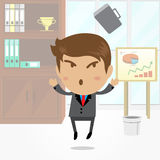 Businessman cartoon character with office background , vector. Businessman cartoon character with office background Royalty Free Stock Images