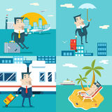 Businessman Cartoon Character Travel Train Ship Airplane Mobile Business Marketing Urban Sky Background Modern Flat Stock Photos