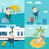 Businessman Cartoon Character Travel Train Ship Airplane Mobile Business Marketing Urban Sky Background Modern Flat Stock Photos