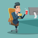 Businessman Cartoon Eating Fast Food at Office Work Place. Unhealthy Eating Stock Images