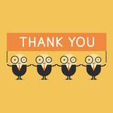 Businessman cartoon holding thank you sign. Royalty Free Stock Image