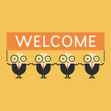 Businessman cartoon holding welcome sign. Royalty Free Stock Photo