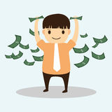 Businessman cartoon with money on hand Royalty Free Stock Image