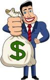 Businessman Cartoon Sack Money  Stock Photography