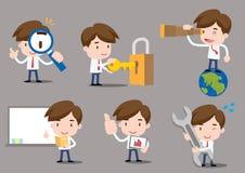 Businessman cartoon. Businessman series - work set, find, teach Royalty Free Stock Image