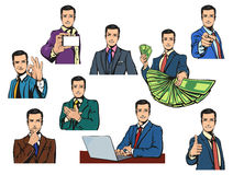 Businessman in cartoon style with gestures Royalty Free Stock Image