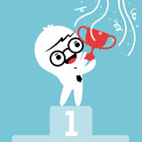 Businessman cartoon with trophy on winner podium Royalty Free Stock Image
