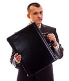 Businessman with case Royalty Free Stock Image