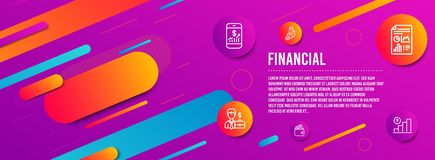 Businessman case, Debit card and 3d chart icons set. Mobile finance, Report document and Graph chart signs. Vector. Header banner. Businessman case, Debit card stock illustration