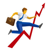Businessman with case jump over decrease in chart Stock Photo