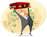 Businessman with case of money Royalty Free Stock Images