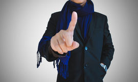 Businessman in casual suit pointing on empty space, selective focus on hand Royalty Free Stock Photos