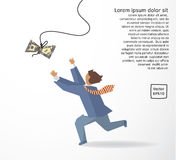 Businessman catch money dollar run flat drawing. Stock Images