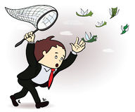 Businessman catch a money illustration. Manager. Chasing Flying Money. Vector Royalty Free Stock Photos