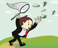 Businessman catch a money illustration. Manager. Chasing Flying Money. Vector Stock Image