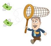 Businessman - Catch the money Royalty Free Stock Photos