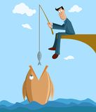 Businessman catching big fish. With small fish in fishing rod Royalty Free Stock Photo