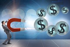 The businessman catching dollars on horseshoe magnet Stock Photo