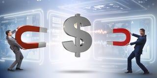 The businessman catching dollars on horseshoe magnet Stock Images