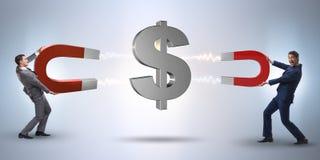 The businessman catching dollars on horseshoe magnet Royalty Free Stock Images